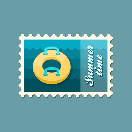 raft: Towable Water Tube Inflatble Boat Floating Raft vector stamp. Beach. Summer. Summertime. Holiday. Vacation, ride, water sport, eps 10 Illustration