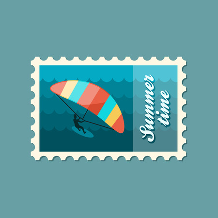 kiter: Kite boarding. Kitesurfing vector stamp. Beach. Summer. Summertime. Holiday. Vacation, eps 10