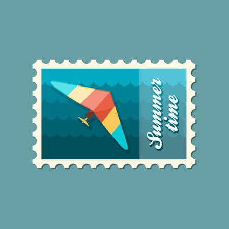 glider: Hang Glider vector stamp. Travel. Summer. Summertime. Holiday. Vacation, eps Illustration
