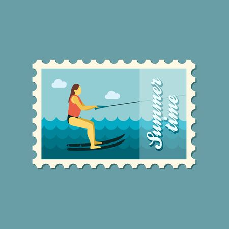 water skiing: Water skiing vector stamp. Beach. Summer. Summertime. Holiday. Vacation, ride, water sport, eps