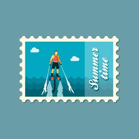 jetpack: FlyBoard FlySurf vector stamp. Beach. Summer. Summertime. Holiday. Vacation, ride, water sport, eps Illustration