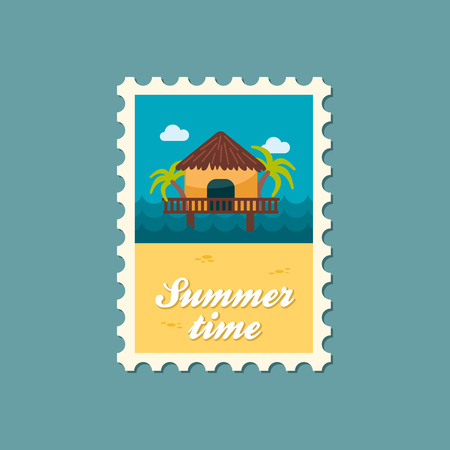 romantic getaway: Bungalow with palm trees vector stamp. Beach. Summer. Summertime. Holiday. Vacation, eps
