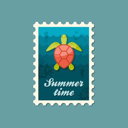 amphibia: Sea turtle vector stamp. Beach. Summer. Summertime. Holiday. Vacation, eps Illustration