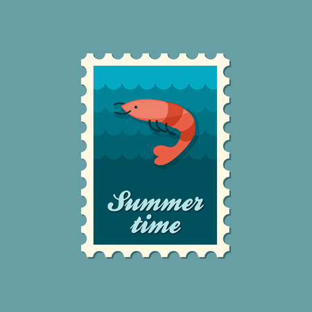 prawn: Shrimp stamp. Prawn vector. Beach. Summer. Summertime. Holiday. Vacation, eps Illustration