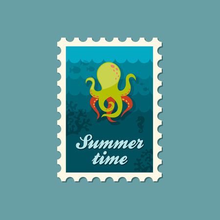 postmark: Octopus vector stamp. Summer. Summertime. Holiday. Vacation, eps