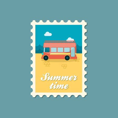 decker: Double decker open top sightseeing and city bus vector stamp. Summer. Summertime. Holiday. Vacation, eps Illustration