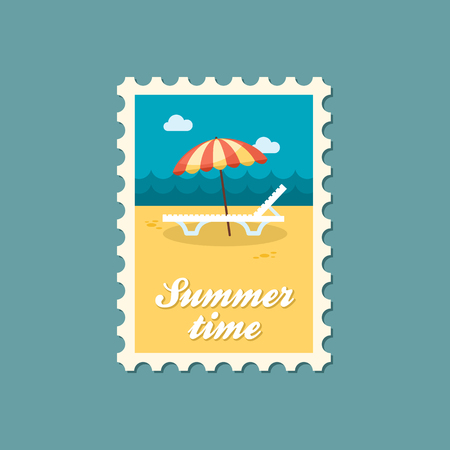 chaise lounge: Beach chaise lounge with umbrella vector stamp. Summer. Summertime. Holiday. Vacation, eps Illustration
