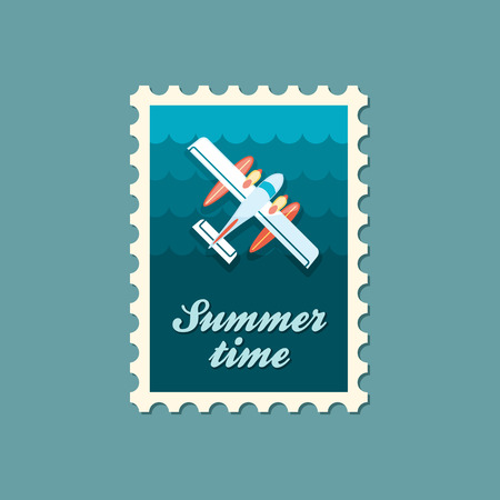 hydroplane: Hydroplane vector stamp. Travel. Summer. Summertime. Holiday. Vacation, eps