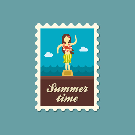 hula: Hula Dancer Statuette vector stamp. Summer. Summertime. Holiday. Vacation, eps