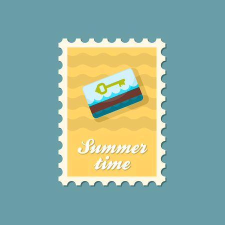keycard: Electronic keycard vector stamp. Key card. Travel. Summer. Summertime. Holiday. Vacation, eps