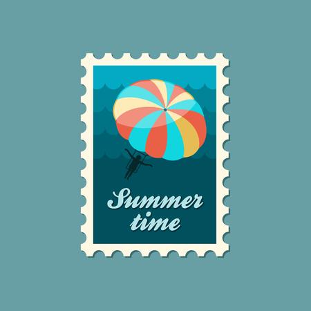 kiting: Parasailing. Summer kiting activity vector stamp. Beach. Summer. Summertime. Holiday. Vacation, eps Illustration