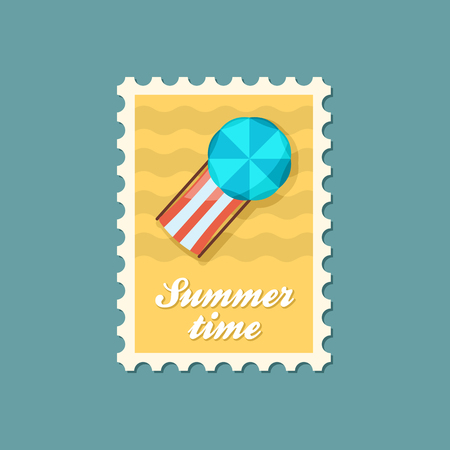 Beach chaise lounge with umbrella vector stamp. Summer. Summertime. Holiday. Vacation, eps Illustration