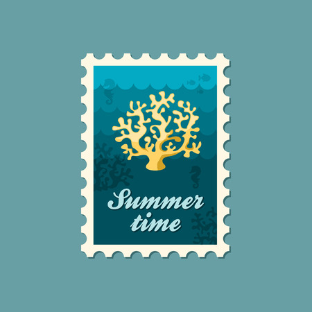 biodiversity: Coral vector stamp. Beach. Summer. Summertime. Holiday. Vacation, eps