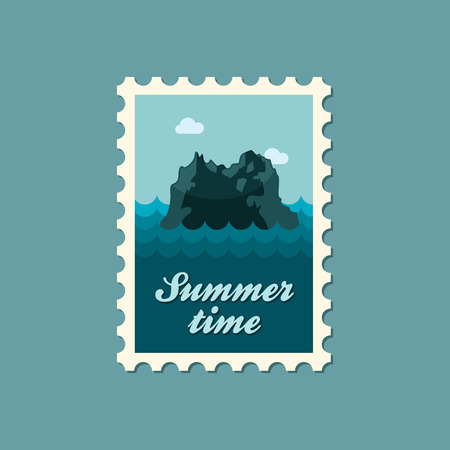 SEA  LANDSCAPE: Rocks in the sea vector stamp. Travel. Summer. Summertime. Holiday. Vacation, eps Illustration