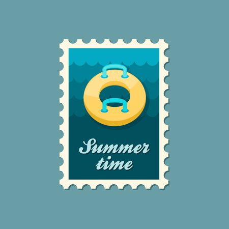 Towable Water Tube Inflatble Boat Floating Raft vector stamp. Beach. Summer. Summertime. Holiday. Vacation, ride, water sport, eps Illustration