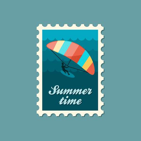 Kite boarding. Kitesurfing vector stamp. Beach. Summer. Summertime. Holiday. Vacation, eps