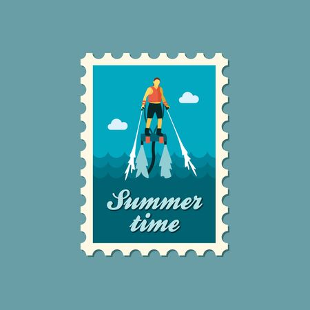 FlyBoard FlySurf vector stamp. Beach. Summer. Summertime. Holiday. Vacation, ride, water sport, eps Illustration