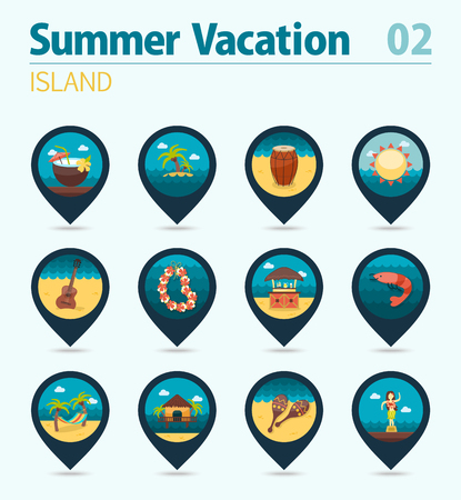palm wreath: Island beach vector pin map icon set. Summer time Map pointer. Map markers. Vacation, Illustration