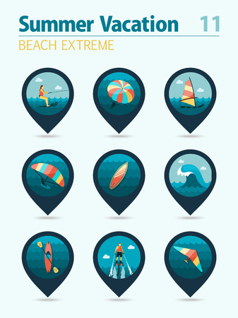 water sport: Extreme Water Sport beach vector pin map icon set. Summer time Map pointer. Map markers. Vacation,