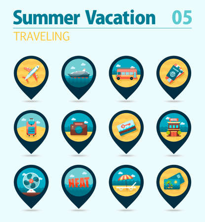 keycard: Traveling vector pin map icon set. Summer time Map pointer. Map markers. Vacation,