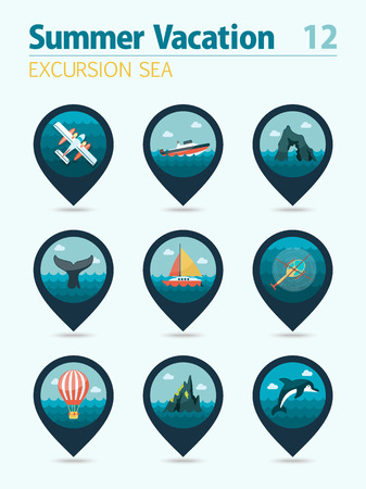 excursion: Excursion sea vector pin map icon set. Summer time Map pointer. Map markers. Vacation,