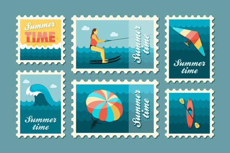 water sport: Extreme Water Sport beach vector stamp set. Summer time. Vacation,