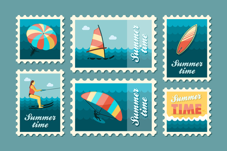water skiing: Extreme Water Sport beach vector stamp set. Summer time. Vacation,