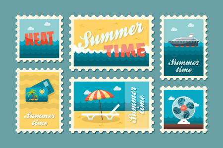 poststempel: Reisen Vektor-Stempel-Set. Sommerzeit-Stempel. Ferien,