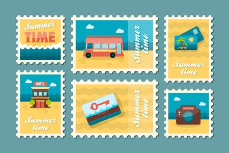 keycard: Traveling vector stamp set. Summer time postmark. Vacation,