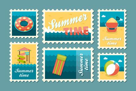 postmark: Beach entertainment vector stamp set. Summer time postmark. Vacation,