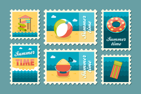 water slide: Beach entertainment vector stamp set. Summer time postmark. Vacation,