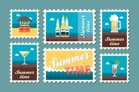 poststempel: Bar Strand Vektor-Stempel. Sommerzeit-Stempel. Ferien,