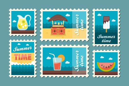 postmark: Bar beach vector stamp . Summer time postmark. Vacation,