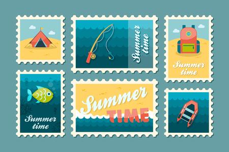 poststempel: Sommer Camping Vektor-Stempel gesetzt. Sommerzeit-Stempel. Urlaub,