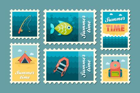 postmark: Summer camping vector stamp set. Summer time postmark. Holiday,