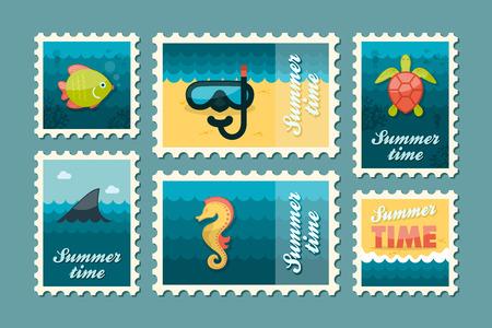 postmark: Diving vector stamp set. Summer time postmark. Vacation, Illustration