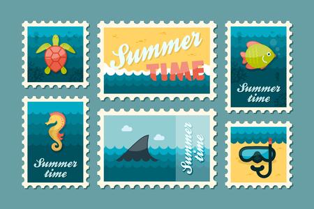 poststempel: Tauchen Vektor-Stempel gesetzt. Sommerzeit-Stempel. Ferien, Illustration