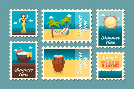 postmark: Island beach vector stamp set. Summer time postmark. Vacation,