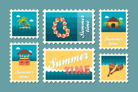 poststempel: Insel Strand Vektor-Stempel gesetzt. Sommerzeit-Stempel. Ferien,