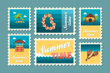 palm wreath: Island beach vector stamp set. Summer time postmark. Vacation,