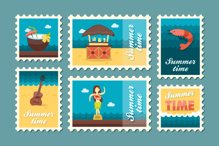 shrimp cocktail: Island beach vector stamp set. Summer time postmark. Vacation,