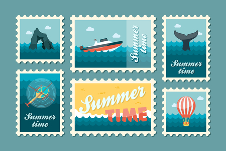 excursion: Excursion sea vector stamp set. Summer time postmark. Vacation,