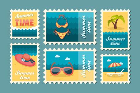 postmark: Beach vector stamp set. Summer time postmark. Vacation,