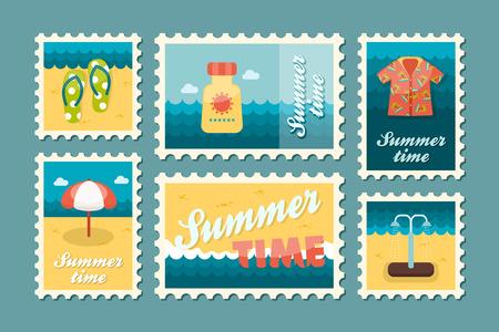 postmark: Beach vector stamp set. Summer time postmark. Vacation