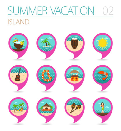 shrimp cocktail: Island beach vector pin map icon set. Summer time Map pointer. Map markers. Illustration