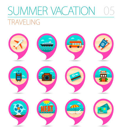 keycard: Traveling vector pin map icon set. Summer time Map pointer.