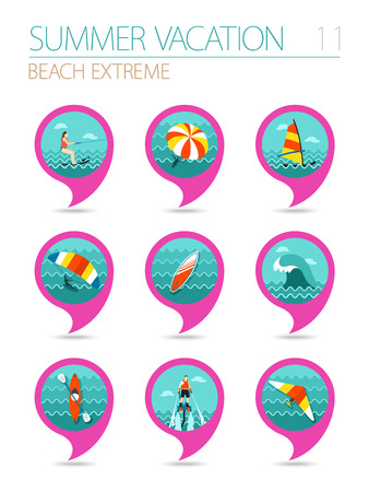 windsurf: Extreme Water Sport beach vector pin map icon set. Summer time Map pointer. Map markers.