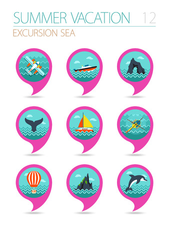 excursion: Excursion sea vector pin map icon set. Summer time Map pointer. Map markers. Illustration