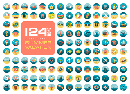 dive trip: Summer vector icon set. Beach. Travel. Summertime. Vacation