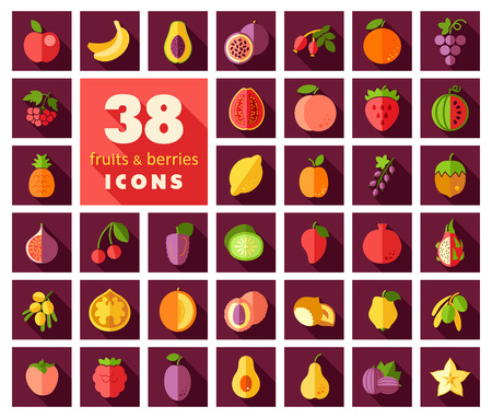persimmon: Set of Fruits and Berries icons.
